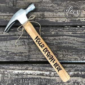 Wood Handled Hammer 2 | Hammer Mockup with Smart Object