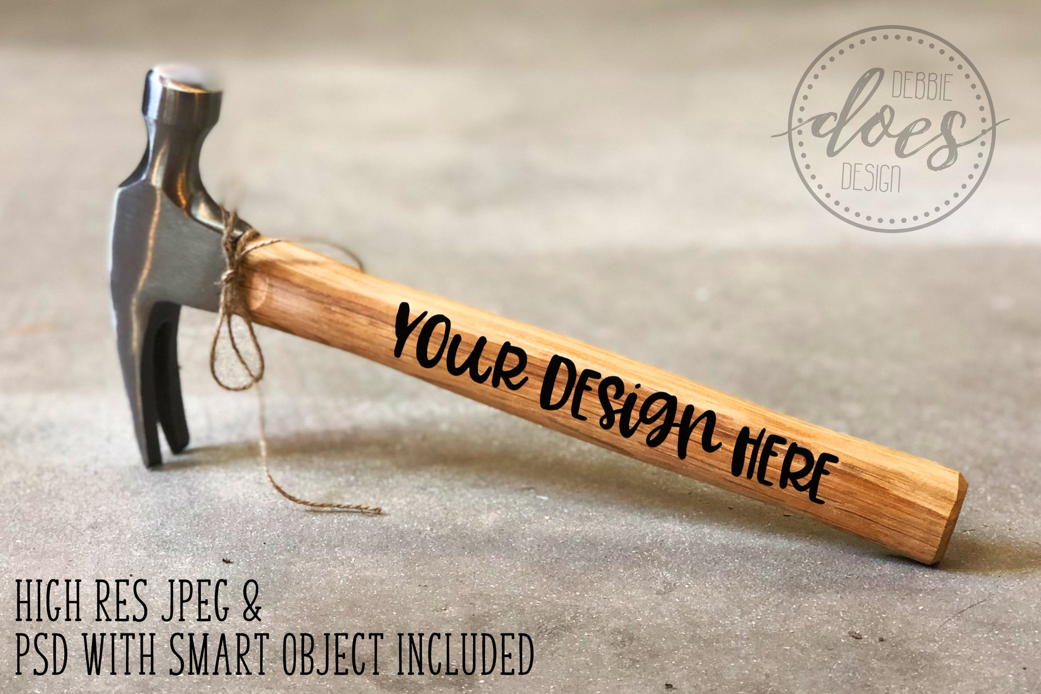 Wood Handled Hammer 1 | Hammer Mockup with Smart Object