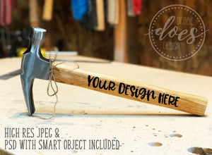 Wood Handled Hammer 3 | Hammer Mockup with Smart Object