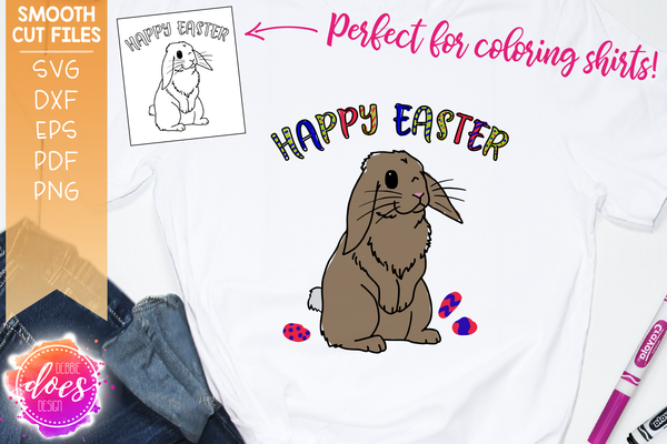 Easter Bunny Happy Easter Coloring Tee Design - SVG File