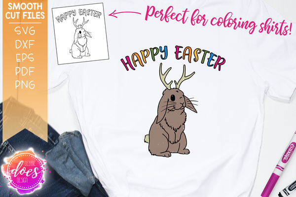 Jackalope Happy Easter Coloring Tee Design - SVG File