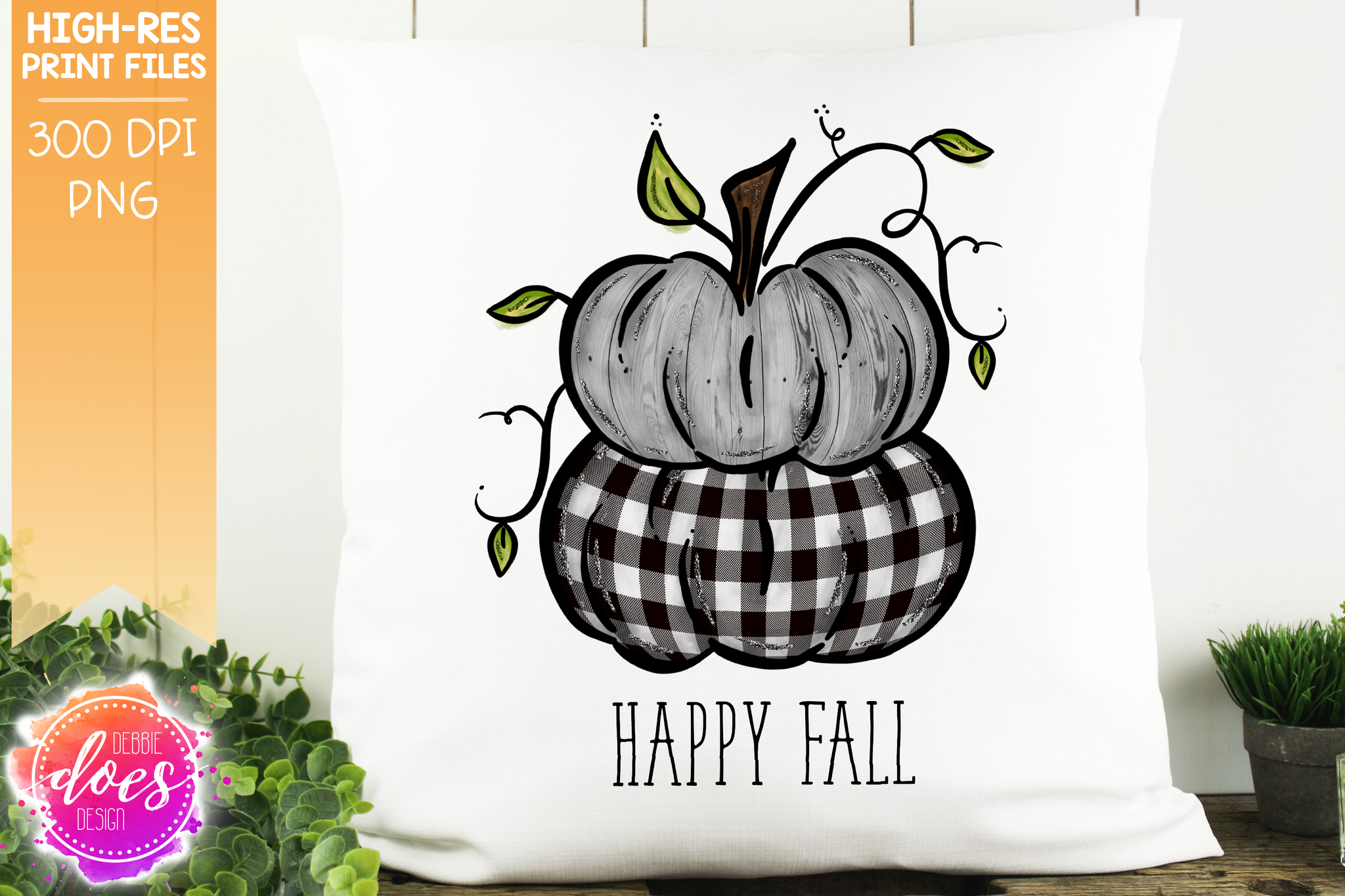 Happy Fall Skinny Stacked Pumpkins - Printable/Sublimation File