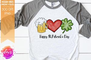 Happy St.Patrick's Day - Beer Shamrock Heart - Sublimation/Printable Design