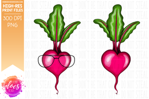 Heart Beet - 2 Versions - With & Without Glasses - Sublimation/Printable Design