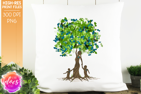 2 Boys Heart Scatter Tree of Love - Sublimation/Printable Design