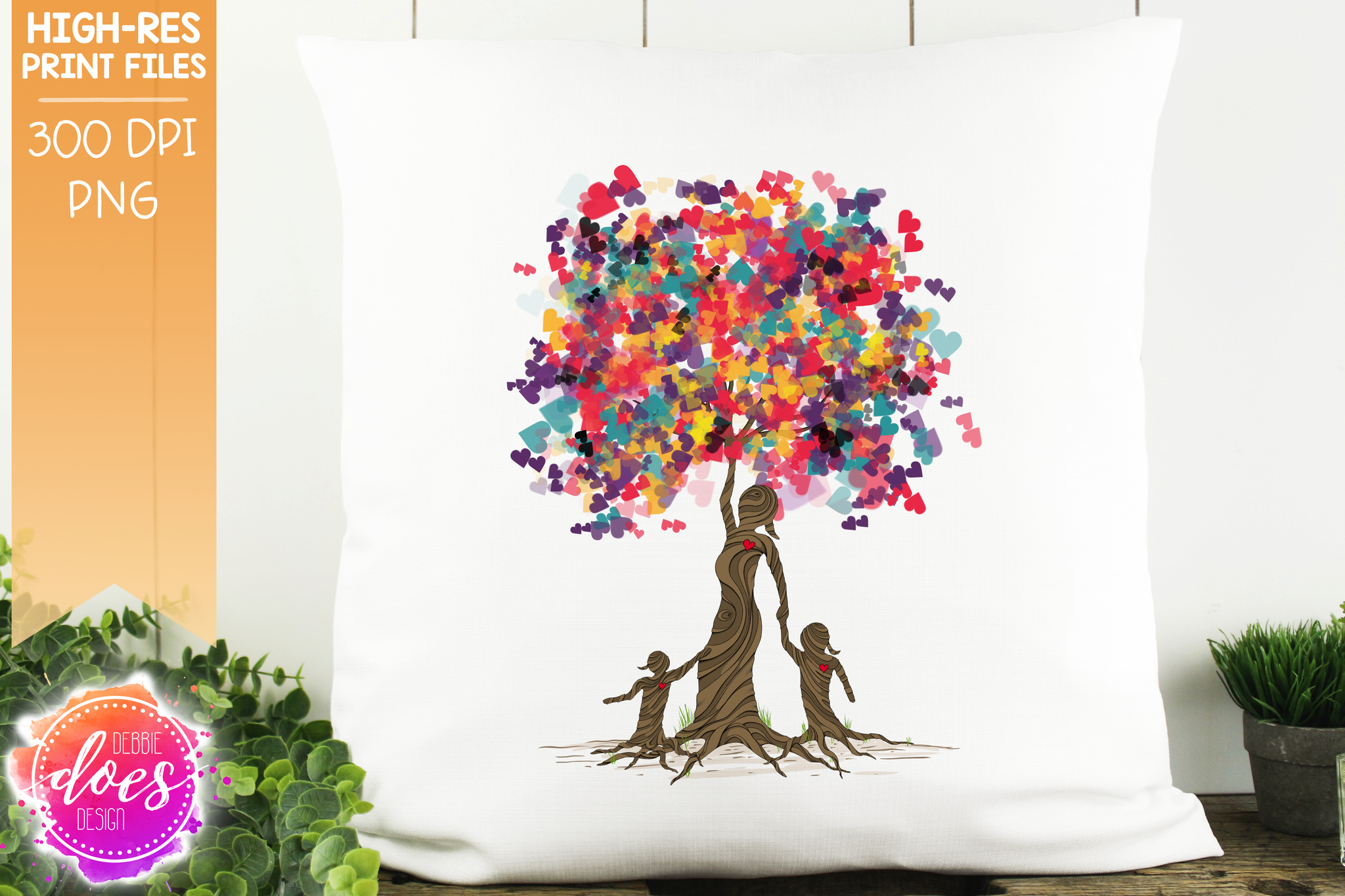2 Girls Heart Scatter Tree of Love - Sublimation/Printable Design