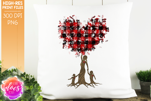 2 Girls Buffalo Plaid Tree of Love - Sublimation/Printable Design