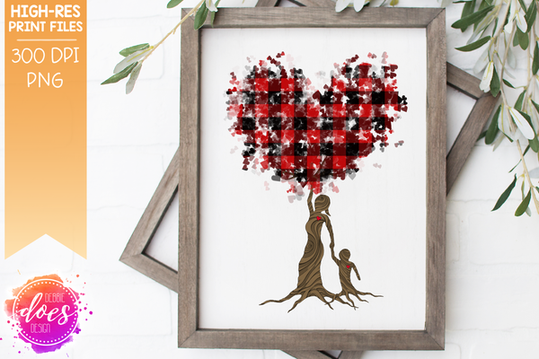 Boy Buffalo Plaid Tree of Love - Sublimation/Printable Design