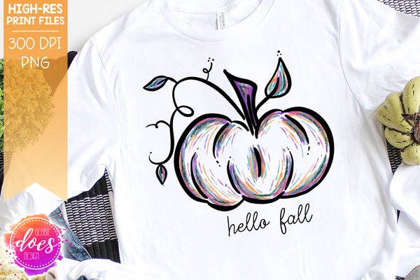 Hello Fall Pastel Painted Pumpkin - Printable/Sublimation File