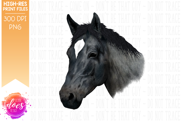 Hand Drawn Horse - Blue Roan - Sublimation/Printable Designs