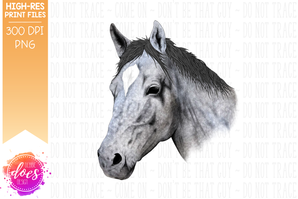 Hand Drawn Horse - Dapple Grey - Sublimation/Printable Designs