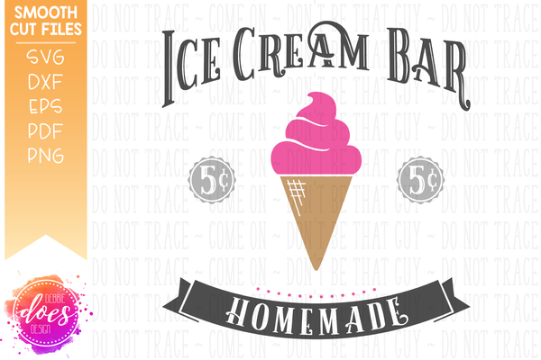 Vintage Ice Cream Bar with Banner - SVG File