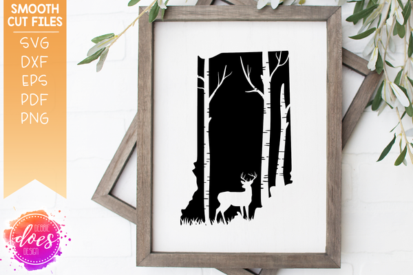 Indiana Deer & Trees Silhouette - SVG File