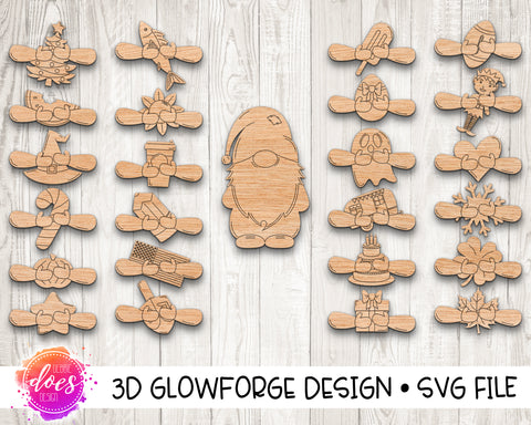 Interchangeable Gnome with 24 attachments - Glowforge Design