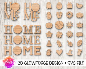 Interchangeable HOME with 24 attachments - Glowforge Design