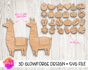 Interchangeable Llama with 24 attachments - Glowforge Design
