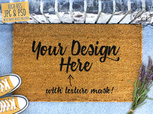 Lavender Coir Doormat Mockup with Smart Object