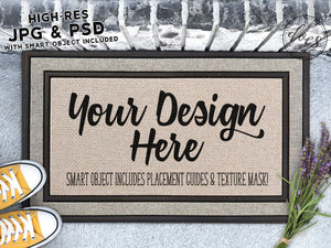 Lavender Grey Doormat Mockup with Smart Object
