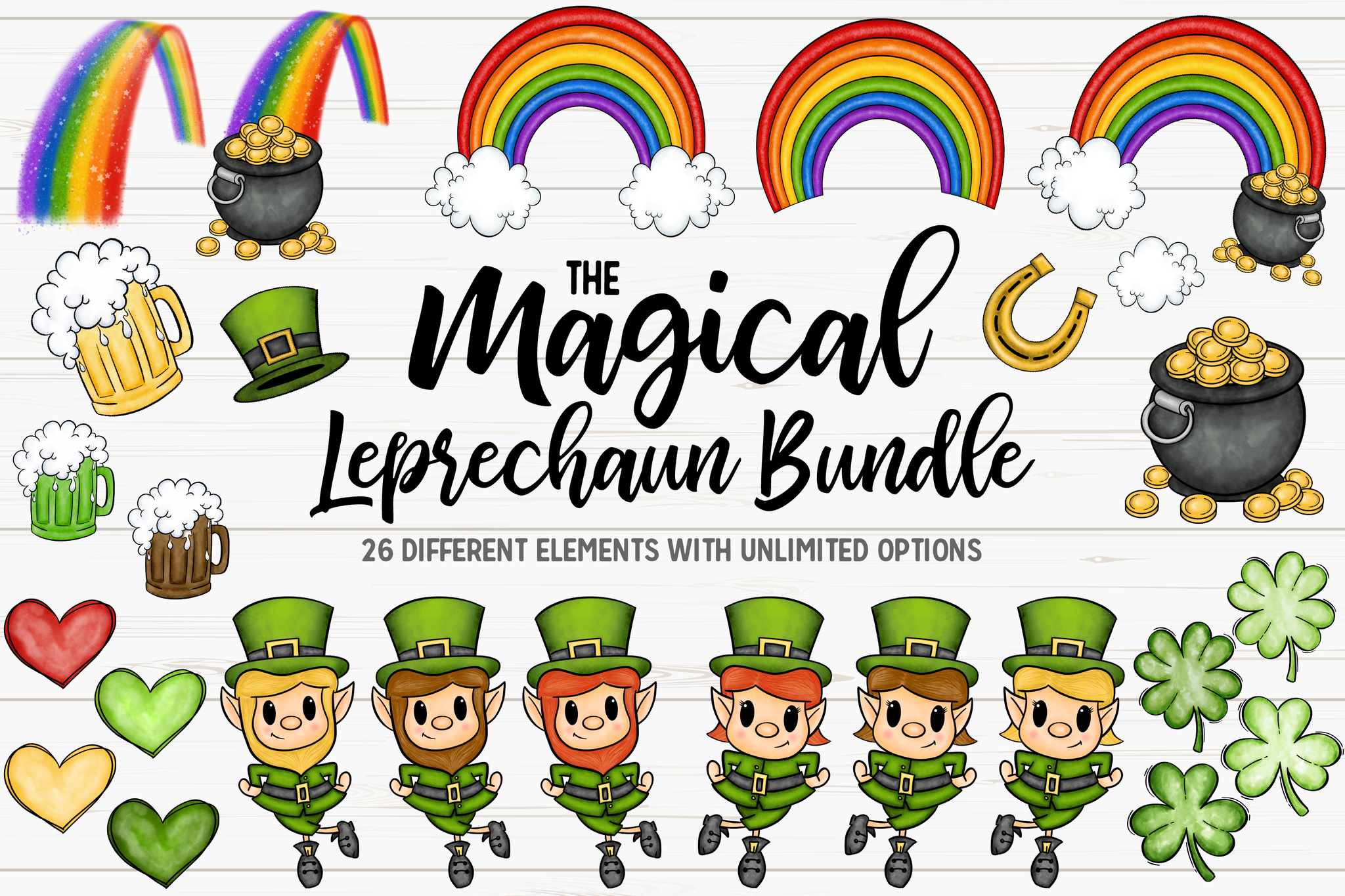 The Magical Hand Drawn Leprechaun Bundle -Printable/Sublimation Designs