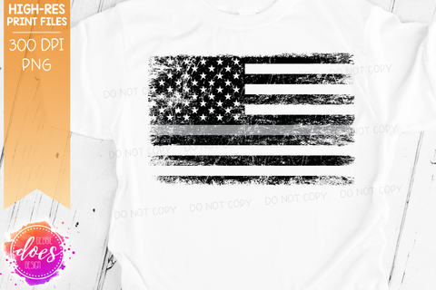 Distressed Thin Grey Line Flag - Corrections - Sublimation/Printable Design