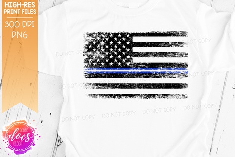 Distressed Thin Blue & White Line Flag - EMS - Sublimation/Printable Design