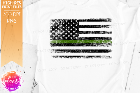 Distressed Thin Green Line Flag - Military - Sublimation/Printable Design
