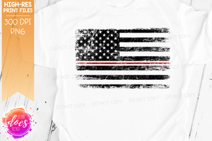 Distressed Thin Red & White Line Flag - Nurse - Sublimation/Printable Design