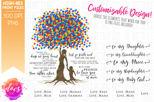 Love You for the Rest of Mine Autism Puzzle Tree - Customizable Girl Kit - Sublimation/Printable Design