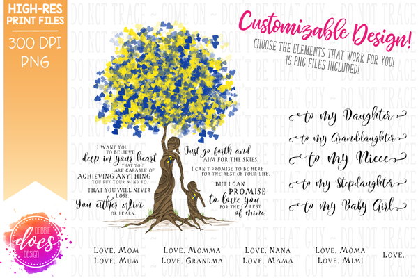 Love You for the Rest of Mine Down Syndrome Tree - Customizable Girl Kit - Sublimation/Printable Design