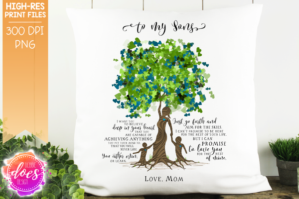 Love You for the Rest of Mine Heart Scatter Tree - Customizable - 2 Boys Kit - Sublimation/Printable Design