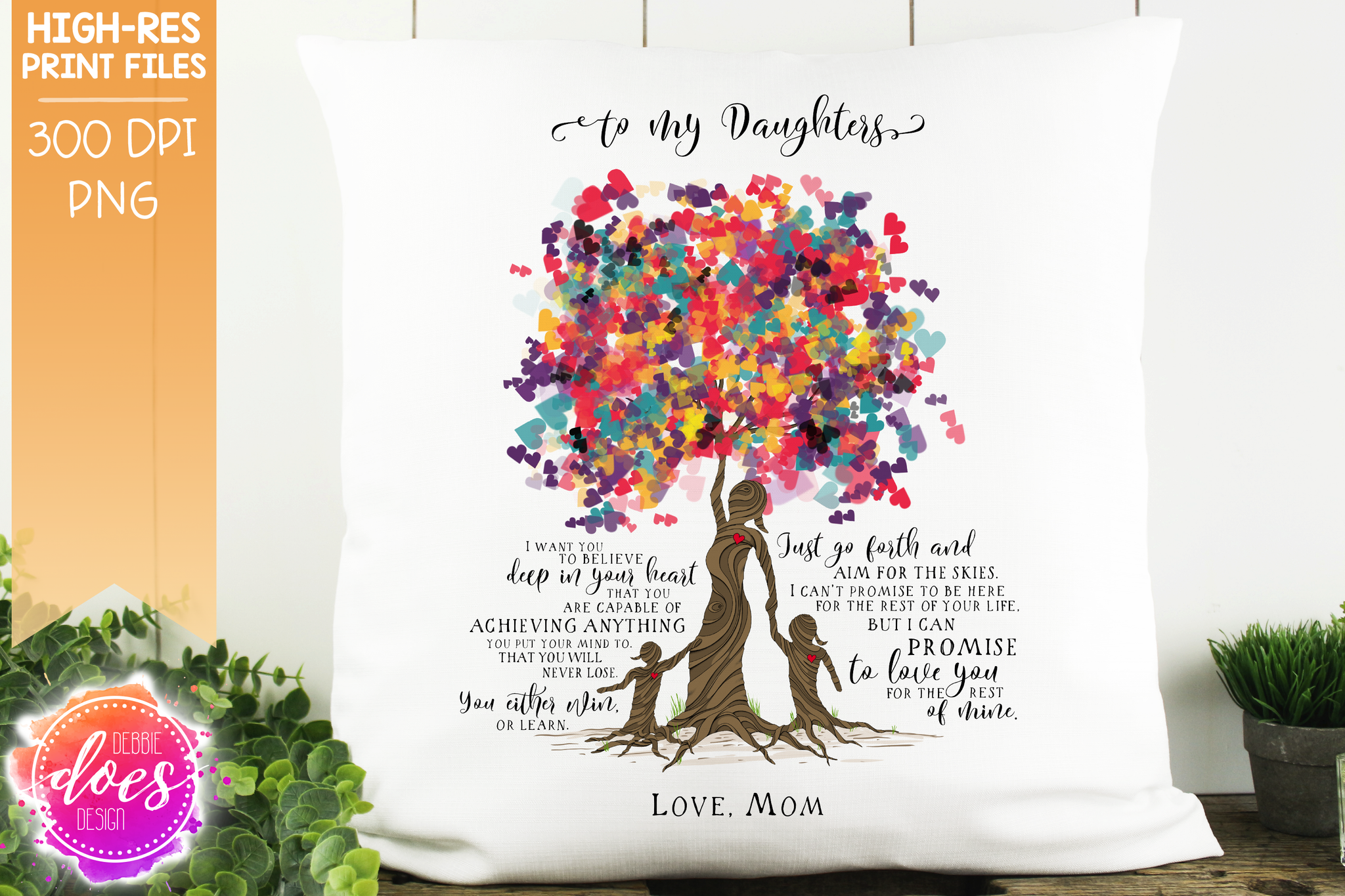 Love You for the Rest of Mine Heart Scatter Tree - Customizable - 2 Girls Kit - Sublimation/Printable Design