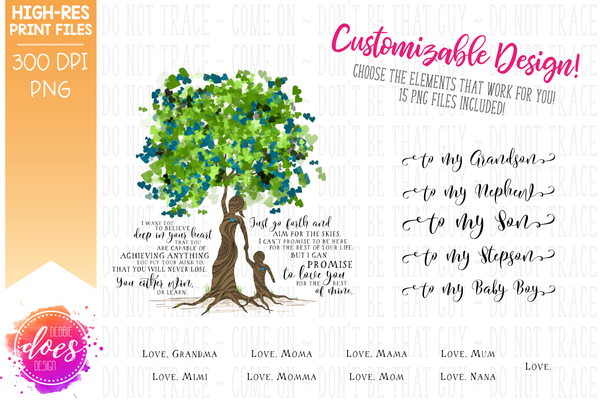 Love You for the Rest of Mine Heart Scatter Tree - Customizable Boy Kit - Sublimation/Printable Design