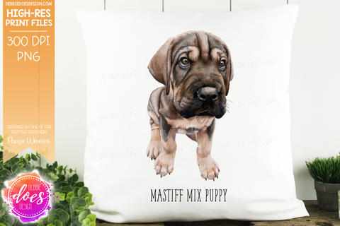 Mastiff Mix Puppy - Hand Drawn Dog Illustration - Sublimation/Printable Design