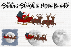 Santa's Sleigh & Moon Bundle - Sublimation/Printable Design