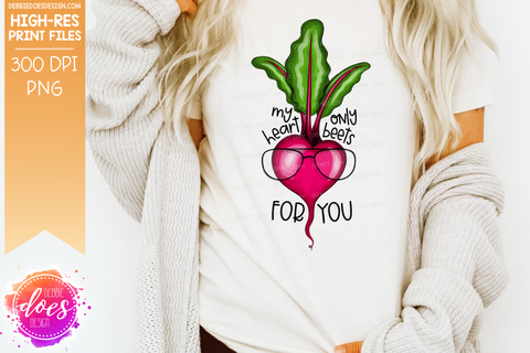 My Heart Only BEETS for You - 2 Versions - With & Without Glasses - Sublimation/Printable Design