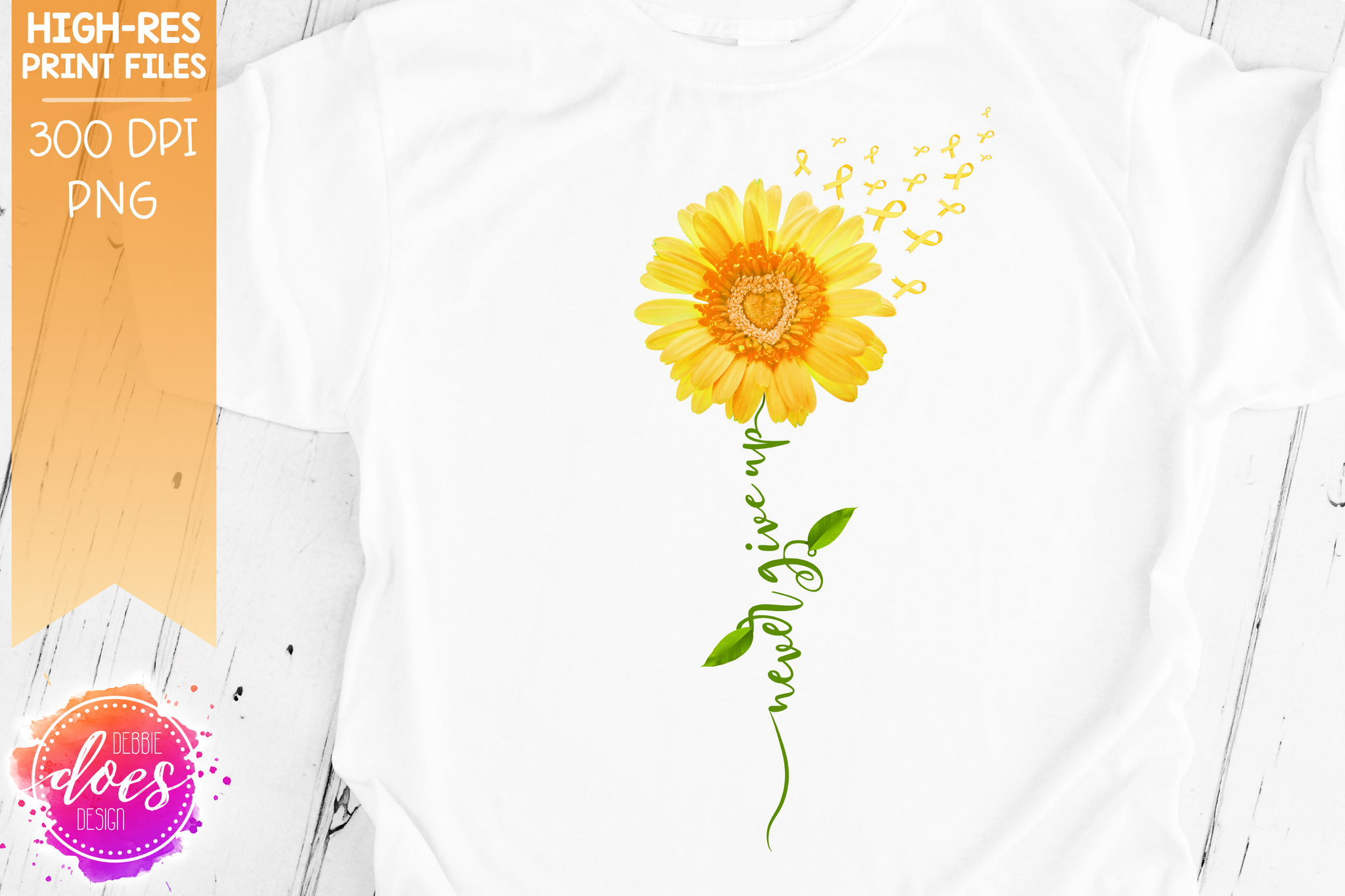 Never Give Up - Yellow Awareness Daisy - Sublimation/Printable Design