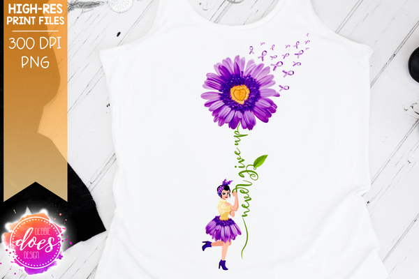 Never Give Up - Purple Rosie Awareness Daisy - Sublimation/Printable Design