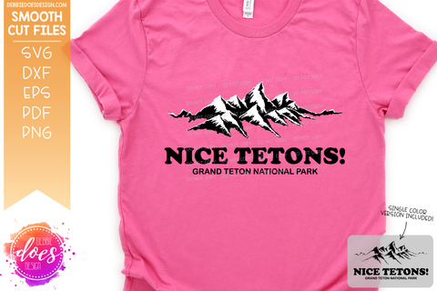 Nice Tetons! - Hand Drawn Grand Teton Mountains - SVG File