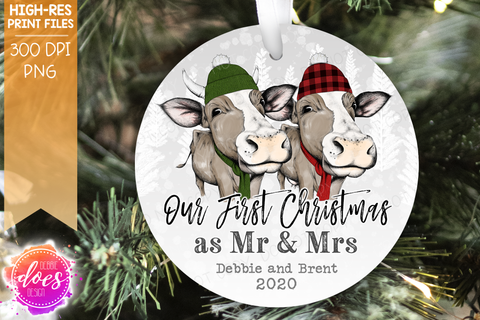 Our First Christmas as Mr & Mrs Cow - 3 Versions! - Sublimation/Printable Design