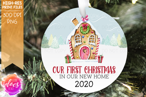 Our First Christmas Gingerbread House - Circle - Printable/Sublimation File
