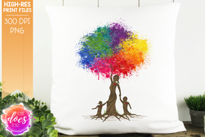 Boy & Girl Paint Splatter Tree of Love (2 Versions) - Sublimation/Printable Design