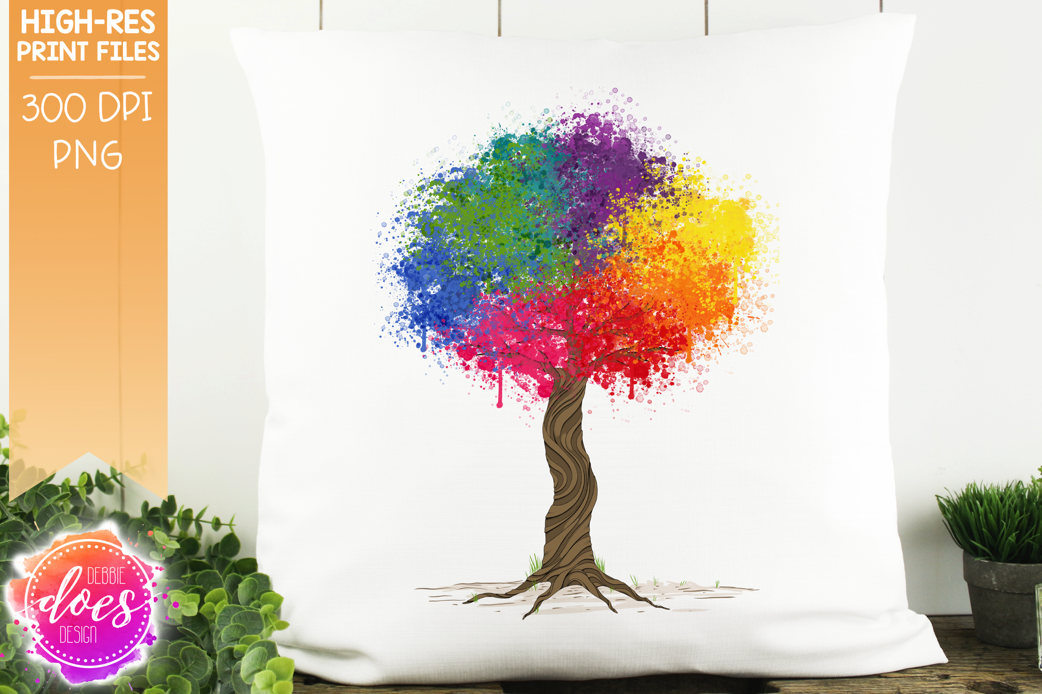Rainbow Paint Splatter Tree - Sublimation/Printable Design