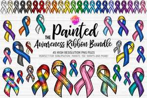 The Painted Awareness Ribbon Bundle - 44 Colors/Patterns - Design Elements