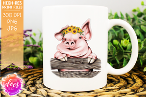 Cute Hand Drawn Pig with Floppy Ear & Sunflowers (A) - Sublimation/Printable Design