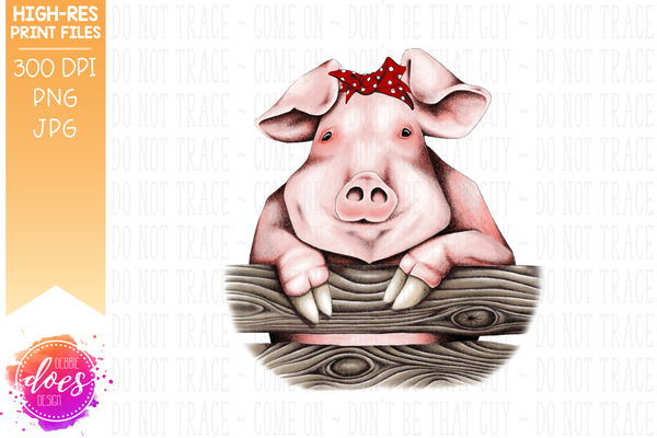 Cute Hand Drawn Pig with Bandana (B) - Sublimation/Printable Design