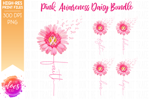 Pink Awareness Daisy Bundle - Includes 5 Designs! - Printable/Sublimation File