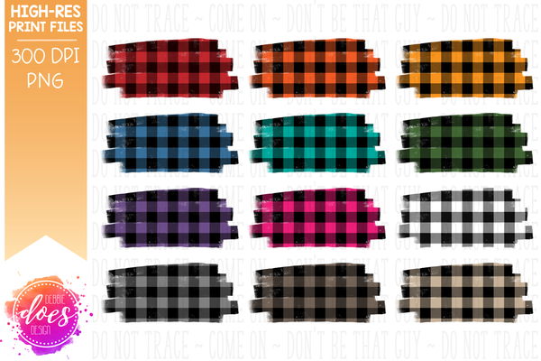 Buffalo Plaid Swash Background Bundle - Design Elements