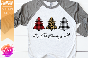 It's Christmas Y'all - Plaid Leopard Christmas Trees - Sublimation/Printable Design