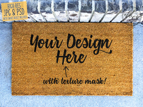 Plain Coir Doormat Mockup with Smart Object