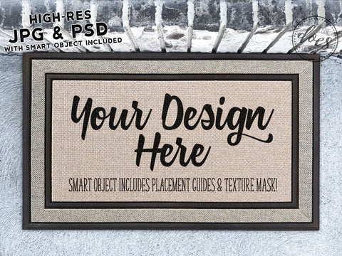 Plain Grey Doormat Mockup with Smart Object